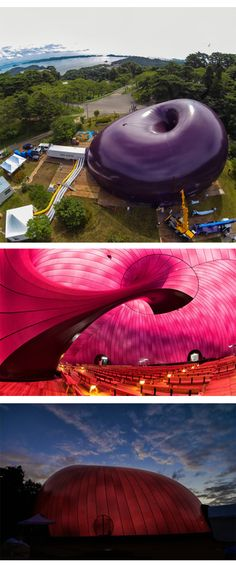 Ark Nova by Arata Isozaki and Anish Kapoor is an inflatable mobile concert hall that is designed as  a symbol of recovery immediately after the great earthquake disaster. Pictures found on Dezeen