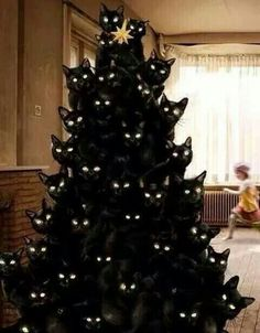 Black Cat Christmas Tree?! Oooo k. | Maybe Thumper would be too terrified to destroy this one! ;)