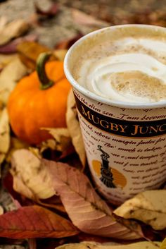 Pumpkin latte! A comforting hot drink to go with a beautiful Fall day.
