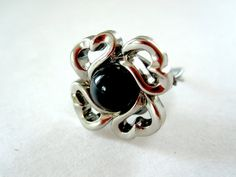 SIlver Heart Bordering Black Center Ring by Untimed on Etsy, $14.50