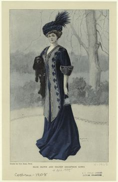 Blue Cloth And Velvet Reception Gown. From New York Public Library Digital Collections. Edwardian Clothing, Edwardian Dress, Antique Clothing, Edwardian Fashion, Vintage Fashion, 1900s Fashion, Reception Gown, Blue Velvet Dress, Fashion Plates