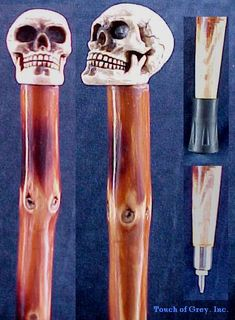 Skull walking canes, Sunkist you need one for your morning walk! Wood Burning Crafts, Wood Burning Art, Walking Sticks And Canes, Walking Canes, Old Wood Projects, Toy Swords, Rain Sticks, Cane Handles, Cane Stick