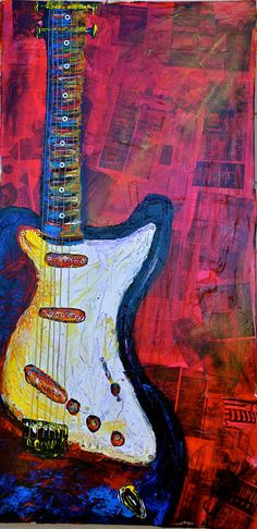 Mixed media guitar painting on canvas 24x48 by ctwhitedesigns, $495.00
