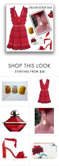 """Graduation Day - Red Dress - Evangelos Jewellery"" by evanangel ❤ liked on Polyvore featuring self-portrait, Guerlain, Alexandre Birman, Oscar de la Renta, Maybelline and modern"