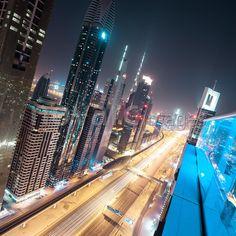 Towers along Sheikh Zayed Road, Dubai, UAE