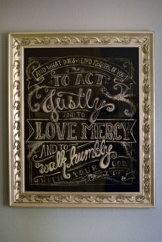 Image of Gorgeous Chalkboard Micah 6:8 Love Mercy Poster