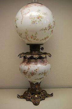 Antique Old Oil Kerosene GWTW Gone with The Wind Cherub Angel Banquet Glass Lamp | eBay