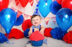 Cake Smash » Cotton Cloud Photography Campbelltown Sydney - Blue and red themed cake smash
