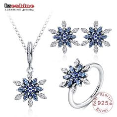 925 Sterling Silver Snowflower Pendant  Earrings  Ring 3-Piece Set with AAA  CZ · Pendant EarringsStud EarringsSnowflake ShapeChristmas ... dfffce608099