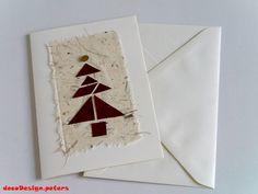 """Weihnachtskarte  """"Tangram-Bäumchen"""" creme-rot-gold von decodesign.peters auf DaWanda.com"""