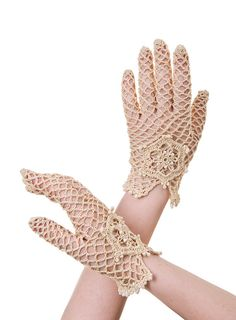 Bridal hand crochet gloves vintage inspired by PetiteLumiereCo