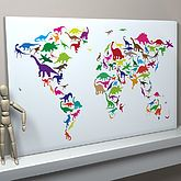 Dinosaur World Map Art Print