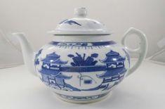 Vintage Chinese Blue White Pagoda Teapot Jingdezhen Oriental Asian Porcelain