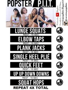 I created this Printable version of the Blogilates POPster PIIT Workout uploaded on Youtube. Give it try and if you want more join the Full 28 Day Workout