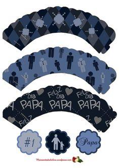 cupcake-wrappers_dia-del-padre_fathers_day–manzanitadiabolica_wordpress_blue   Manzanita Diabolica .com Ninja Cupcakes, Blue Cupcakes, Happy Fathers Day, Gifts For Father, Fathers Day Cupcakes, Dad Day, Topper, Cupcake Wrappers, Free Prints