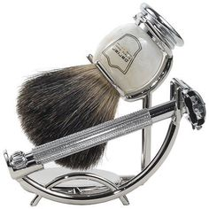 Parker Safety Razor Shave Set – Includes Black Badger Brush, Stand & Parker Butterfly Open Safety Razor: Father's day gift Shaving Tips, Shaving Set, Shaving Razor, Shaving Brush, Wet Shaving, Shaving Stand, Shaving & Grooming, Men's Grooming, Razor Stand