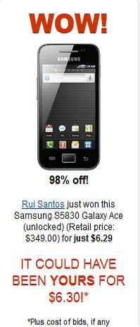 Samsung Galaxy Ace for $6.29