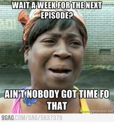 "In the case of Doctor Who: ""Wait until Christmas for the next Episode? Ain't nobody got time for that!"""