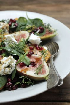 Summer salad with fig persian feta and pomegranate