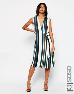 2293 Изображение 1 из Мягкое платье в полоску с запахом и D-кольцом ASOS TALL