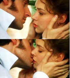 I believe that a  face caressing kiss is one of the most amazing kisses ever...  Ah BBC mini series... nothing like them. (North and South)- I LOVE THIS MOMENT IN THE BOOK. that is all...