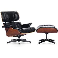 Vitra Eames Lounge Chair & Ottoman (29.065 RON) ❤ liked on Polyvore featuring home, furniture, black, traditional furniture, vitra furniture, traditional leather furniture, colored leather furniture and black leather furniture