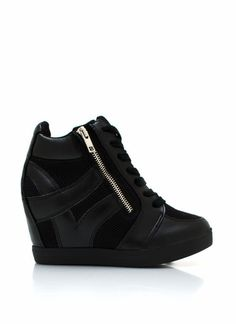 Zippered Sneaker Wedges---I kinda love these...I love sneakers and I love heals so this my be perfect for this midget