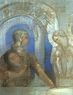 The Mystical Knight (Oedipus and the Sphinx) Artist: Odilon Redon Completion Date: 1869 Style: Symbolism Genre: mythological painting Technique: charcoal Material: paper Gallery: Musée des Beaux Arts, Bordeaux, France Bird People, Le Sphinx, Rose Croix, Odilon Redon, Mystique, French Artists, Pablo Picasso, Les Oeuvres, Dios