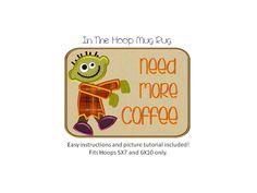 Mug Rug  Coffee Zombie Boy  Applique by AppliqueDownload on Etsy, $6.99