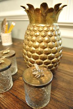 decorative pineapple container   love pineapple decor the southern style not hawaiian more pineapple ...