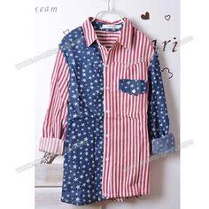 Flag Style Stripes Lapel Long Sleeves Lint Shirt For Men