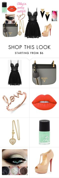 """""""Abby's party outfit"""" by lolo-cdx ❤ liked on Polyvore featuring Alexander McQueen, Prada, Sydney Evan, Lime Crime, Rimmel, Christian Louboutin and Yves Saint Laurent"""