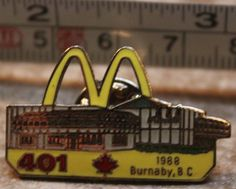McDonalds 401 Burnaby BC Canada 1988 Employee Collectible Pinback Pin Button #McDonalds