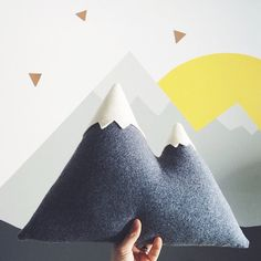 the Peaks  LARGE Mountain Pillow  made to order von ThreeBadSeeds