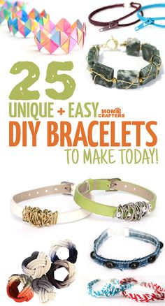 Looking for cool DIY bracelets to make? Try these 25 cool, unusual and totally awesome arm candy jewelry making tutorials! Features crafts for kids, tweens, teens, and adults. Credits: momsandcrafters.com