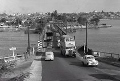 FJ Holden in front. More Gladesville Bridge memories,evening peak hour traffic looking south,taken November 1956 (RMS Library) ve. Great Pictures, Old Pictures, Old Photos, Old Bridges, Aboriginal History, Sydney City, As Time Goes By, History Photos, Historical Architecture