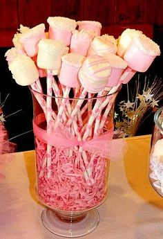 12 Chocolate Dipped Marshmallows Birthday Party Baby Shower Favors Pink Princess Blush Ballerina Pink