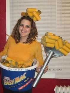 A delicious-looking EasyMac costume can be made from spray-painted toilet paper rolls. | 51 Cheap And Easy Last-Minute Halloween Costumes