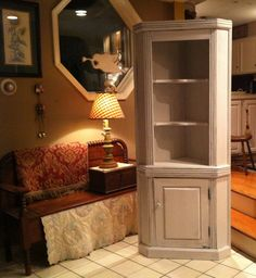 Vintage Painted Country Farmhouse Corner Cupboard Hutch