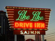 Like Like Drive Inn Honolulu, Hawaii Roadside Signs, Sign O' The Times, Neon Words, Sign Lighting, Neon Glow, Weird Food, Old Signs, Vintage Signs, Signage