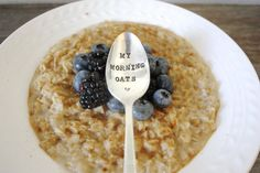 My Morning Oats Hand Stamped Spoon  by ForSuchATimeDesigns | #oatmeal #breakfast #food