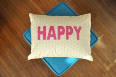 Happy pillow pink on yellow honeycomb pattern by sac529 on Etsy