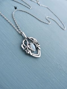 Fine silver pendant with moonstone - 999 fine silver jewelry - wire wrapped necklace - gift for women - elvish jewelry