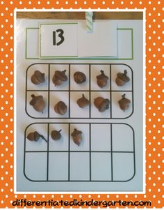 Planning Autumn Math Stations.  Using engaging items for math fun.
