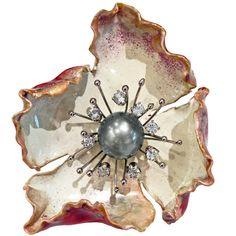 Russell Trusso Enamel Tahitian Pearl Sapphire Fine Silver Gold Brooch/Pendant | 1stdibs.com