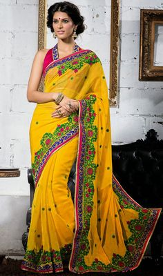Yellow Embroidered Chiffon Saree Price: Usa Dollar $91, British UK Pound £54, Euro67, Canada CA$99 , Indian Rs4914.