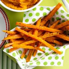 Rosemary Sweet Potato Fries Recipe -A local restaurant got me hooked on sweet potato fries. I started making them at home with different seasonings to match the taste. I'm thrilled with the results! —Jackie Gregston, Hallsville, Texas