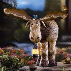 Adorable Bruce the Moose Bird Feeder and Lantern for your garden. A must have! Photons!