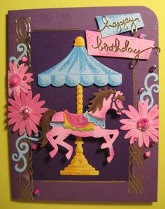 "Check out this site for how to make a ""galloping"" carousel pony birthday card!"