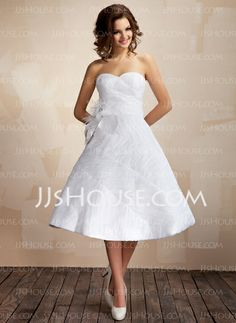 Wedding Dresses - $205.29 - Ball-Gown Sweetheart Tea-Length Taffeta Organza Wedding Dress With Ruffle Feather Flower(s) (002012097) http://jjshouse.com/Ball-Gown-Sweetheart-Tea-Length-Taffeta-Organza-Wedding-Dress-With-Ruffle-Feather-Flower-S-002012097-g12097